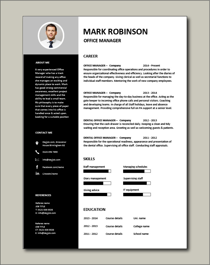 Free Office Manager CV template 3