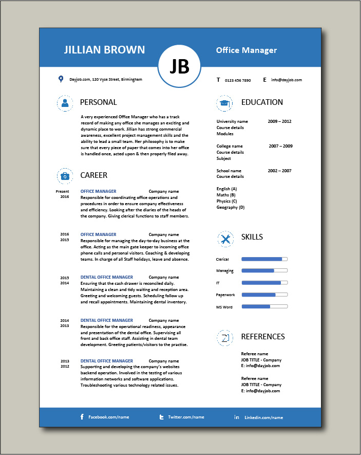 Free Office Manager CV template 5
