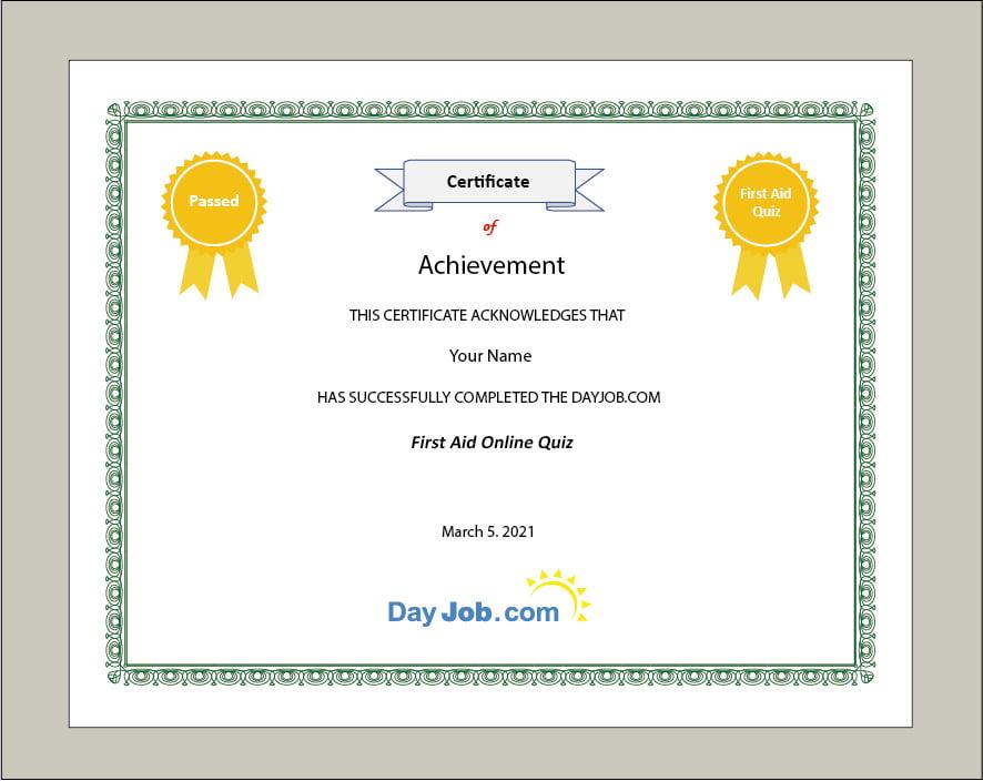 first aid quiz certificate test