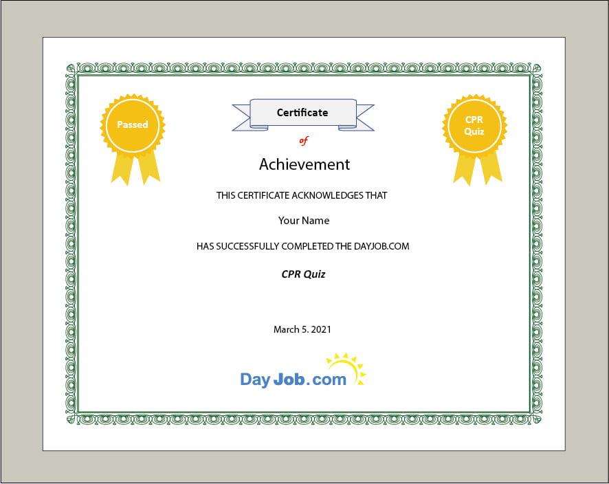 CPR quiz certificate online, test