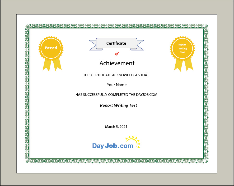 Report writing test certificate front