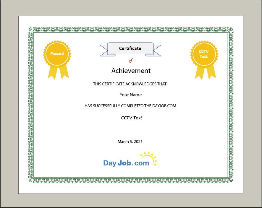cctv test certificate quiz