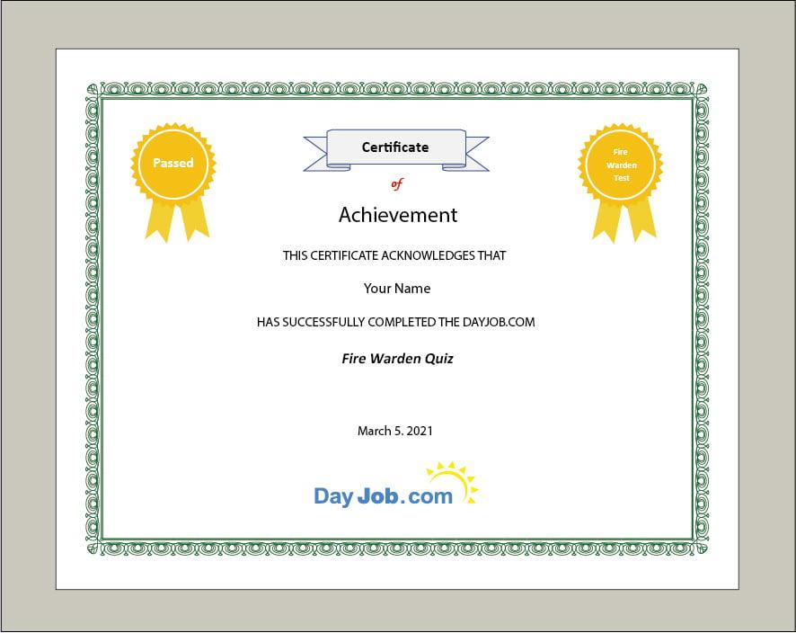 fire warden certificate front